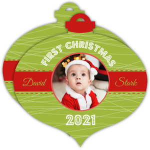 Cheerful Green First Christmas Ornament Photo Card
