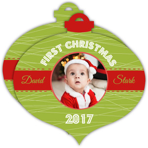 Cheerful Green First Christmsa Ornament Photo Card