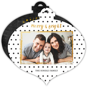 Modern Black & White Holiday Ornament Photo Card