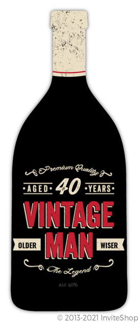 Vintage Bottle 40th Birthday Party Invitation