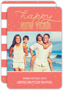 Bright Faux Gold Foil Happy New Year Photo Card