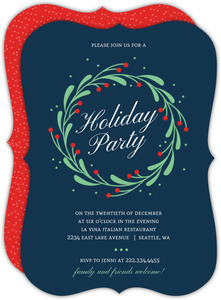Simple Mistletoe Wreath Holiday Party Invitation