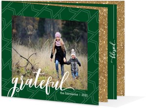 Green & Faux Glitter Christmas Photo Booklet