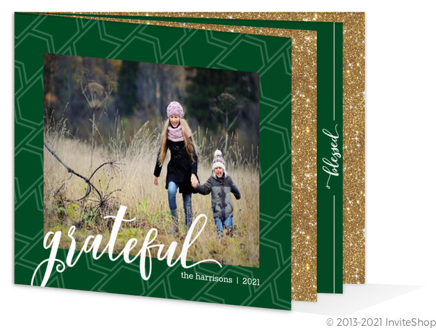 green faux glitter christmas photo booklet