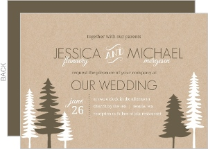 Green Kraft Pine Trees Invitation