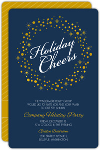 Golden Holiday Wreath Business Holiday Party Invitation
