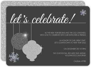 Faux Glitter Ornament Business Holiday Party Invitation