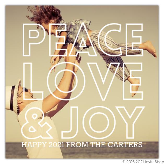 peace love and joy overlay new years photo card
