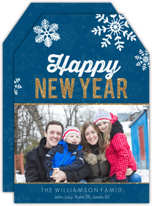 Faux Glitter Snowflakes New Years Photo Card