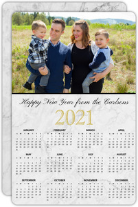 Marble Foil Stamped Calendar New Years Card