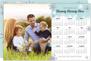 Sweet Blue Snowflake Calendar New Years Card