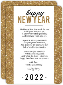 Shiny Simple Gold New Years Card
