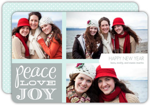 Peace Love Joy Photo New Years Card