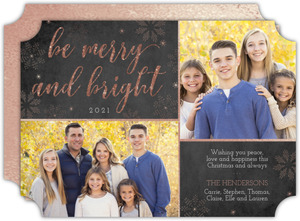 Merry and Bright Rose Gold Christmas Photo Card