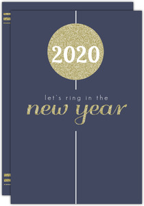Navy Gold Ball Drop New Years Invitation