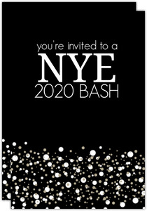 Classic Black and White Confetti New Years Invitation