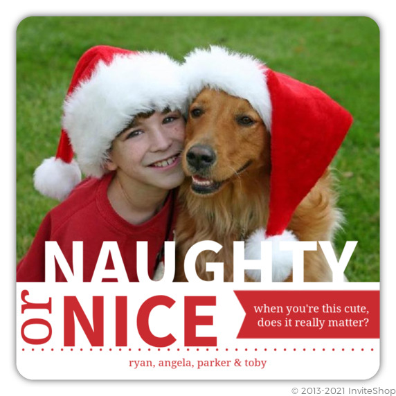 red naughty or nice pet holiday photo card - Pet Holiday Cards