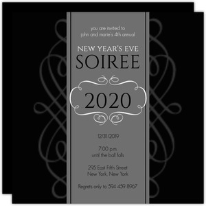 Formal Black and Charcoal Flourish New Years Party Invitation