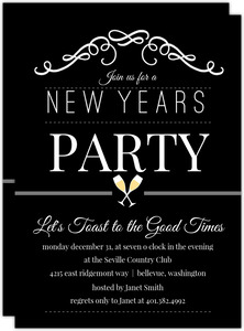 Black Champagne Toast New Years Eve Party Invitation