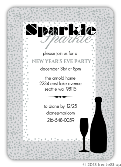 sparkle gray confetti border new years eve party invitation