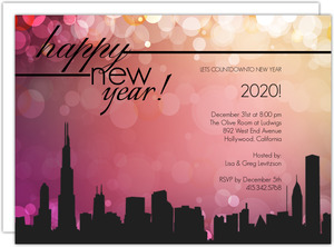 Sparkling Pink City Skyline New Years Invitation
