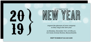 Pale Blue Bracket New Years Party Invitation