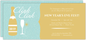 Clink Clink Gold Blue New Years Party Invitation