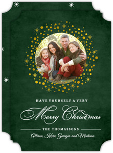 Evergreen Gold Wreath Christmas Photo Card