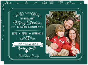 Everygreen Snowflakes Holiday Photo Card