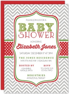 Grey Red Pattern Christmas Baby Shower Invitation