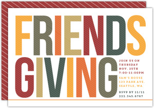 Simple & Bold Friends Thanksgiving Party Invitation