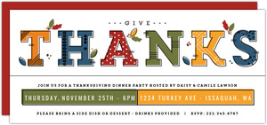Modern Typography Thanksgiving Party Invitation
