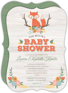 Rustic Woodland Fox Baby Shower Invitation