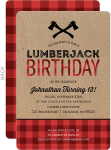 Red Plaid Pattern Lumberjack Birthday Invitation