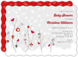 Winter Birds And Ornaments Baby Shower Invitation