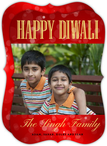 Fizzy Red Diwali Photo Card