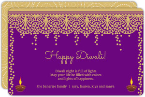 Purple Decorated Diwali Card
