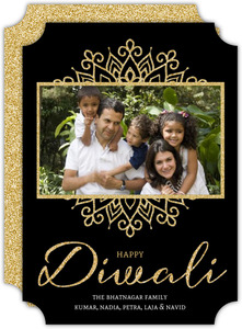 Elegant Black and Faux Gold Diwali Card