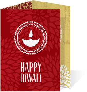 Red Candlelight Diwali Card