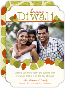 Leaf Patterned Photo Diwali Card