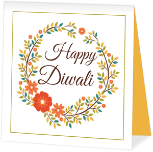 Floral Wreath Diwali Card