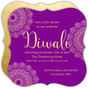 Purple Typography Diwali Card