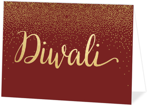 Folded Crimson and Gold Diwali Card