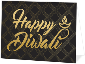 Patterned Gold Typography Diwali Card