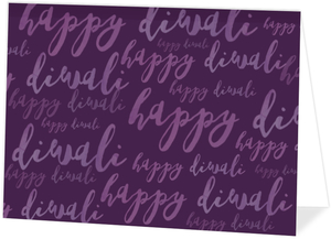 Purple Typography Folded Diwali Card