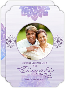 Watercolor Stripes Diwali Photo Card