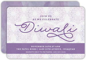 Purple Floral Modern Diwali Card