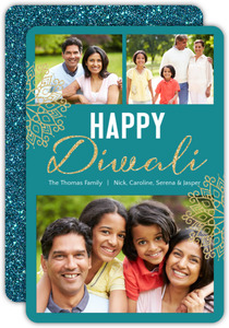 Teal Faux Glitter Diwali Photo Card