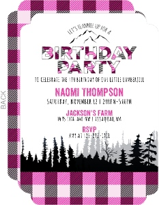 Pink Flannel Lumberjill Birthday Invitation