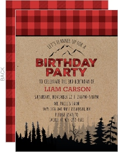 Kraft Red Plaid Lumberjack Birthday Invitation